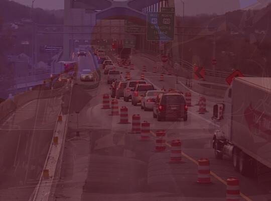 Cars going on the bridge