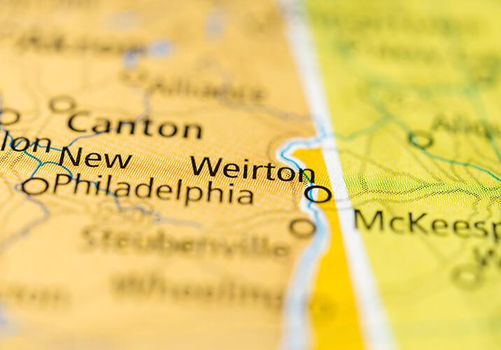 Weirton West Virginia on Map